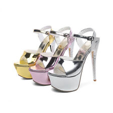 Women's Peep Toe Sandals High Heel Ankle Strap Shiny Platform Shoes AU Size D205