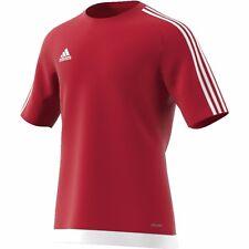 adidas 3 Stripe Estro T Shirt Top Climalite Casual Fashion Mens Gents Unired/white L