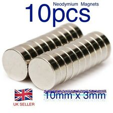 10 pcs - Strong Neo Magnets (10mm  x 3mm) * Pull force 1.75Kg * Powerful