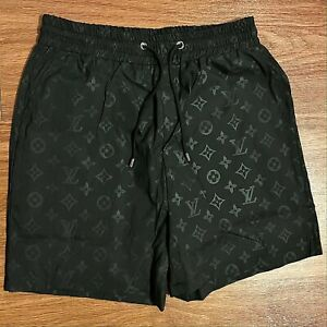 NEW- LOUIS VUITTON Monogram Swim Trunks Board Shorts -Black
