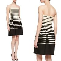Trina Turk Kenzie Tan Black Stripe Strapless Dress Size 6