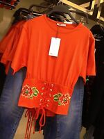 BLOGGERS FAV!!! ZARA ORANGE LACE UP CORSET-STYLE TOP WITH EMBROIDERY SIZE S UK 8