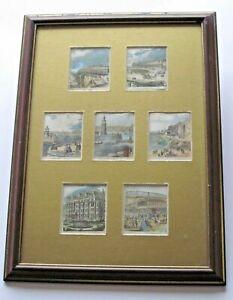 c1860 7 Miniature Antique Engravings Ramsgate Kent Railway Lighthouse Handcolour