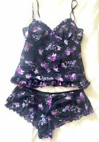 MARKS & SPENCER CAMI SET LIMITED COLLECTION PURPLE FLORAL CAMISOLE/KNICKERS  10