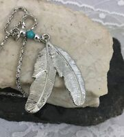 Vintage Silver Tone Southwest Native American Style Feather Pendant Necklace ...
