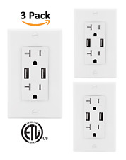 4.2A High Speed Dual USB Receptacle 20A Tamper Resistant  [3 PACK] by Teklectric