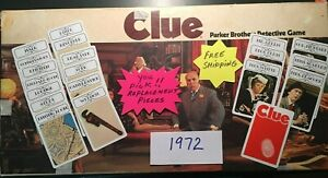 Clue 1972 Cards Suspects Weapons Rooms You Pick Replacement Cards Free Shipping