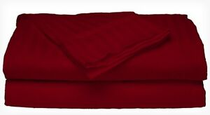 Queen Size Burgundy 400 Thread Count 100% Cotton Sateen Dobby Stripe Sheet Set
