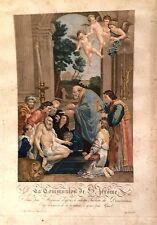 SAN GIROLAMO,Jerome acquaforte stampata a colori d'epoca.XIX secolo.COMUNIONE