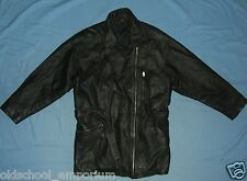 FRONT LINE / vintage WOMENS (Ladies) zip-up long leather Jacket. Size: 40, GB 14