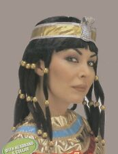Black Cleopatra Wig With Headband & Collar Egyptian Fancy Dress Adult P402