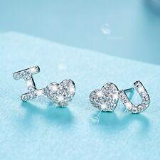 925 silver earrings simulated diamond cute I love you heart stud