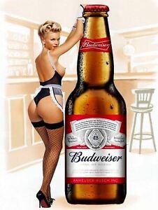 Budweiser Pin Up Girl, Vintage Retro Metal Sign Plaque, Novelty Gift, Bar/Pub