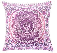 Set Of 2 Pcs Indian Mandala Cushion Cover 16x16 Decorative Throw Pillow Case