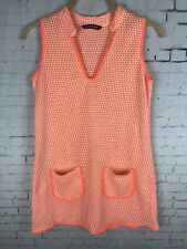 KAS NEW YORK KNIT DRESS LARGE WOMEN'S ORANGE WHITE TOP SLEEVELESS RETRO MINI A81