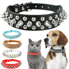 Cool Spiked Studded Rivet Pu Leather Dog Cat Puppy Collar Small Pet Necklace Us