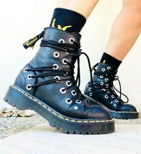 Rare as Unicorn Dr Martens Daria chunky leather holey holes strappy boots 4uk /