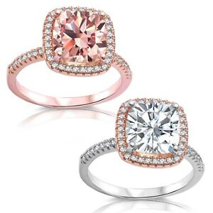 Cushion Morganite Simulated Diamond Rose Gold or Two Tone Halo Engagement Ring