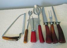 Lot 7 Vintage  Bakelite Utensils:CARVING SET ,SPOONS, SAW, CHOPPER,