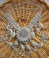 Statement Shell Mirror Charm Necklace Boho Kuchi Gypsy Bohemian Festival Jewelry