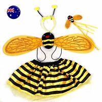 Girl Kid Child Fancy bee Bumblebee Halloween headband skirt Costume set WING