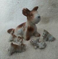Vintage Schnauzer Terrier Mother w/4 Puppies Porcelain Figures-Japan