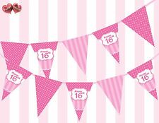 Perfect Pink Happy 16th Birthday Vintage Polka Dots Stripes Theme Bunting Banner