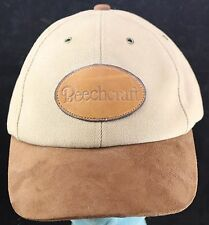 Vtg Beechcraft Leather Patch w Suede Brim Baseball Aviation Hat -Made in USA