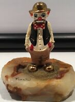 Vintage Signed 1980 Ron Lee Hobo Clown on Onyx base, 24K Gold plated