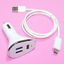 3-Port Quick Charge 3.0 Car Charger Type C Cable 3ft for LG Stylo 4 Q710AL Phone