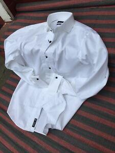 "Hugo Boss Regular-Fit Men's Easy Iron Cotton Double Cuff Shirt NEW RRP £120 16"""