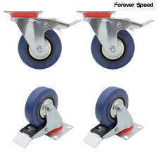 4 x Lenkrollen mit Bremse 125mm Transportrollen Schwerlastrollen Blau 300KG/SET