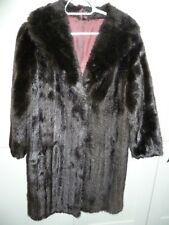 "Vintage Ladies 50's dark brown Faux Mink fur coat bust 42"" size 14 length 38"""
