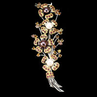 Pearl Ruby Sapphire White & Yellow 14k Gold Plate 925 Sterling Silver Brooch