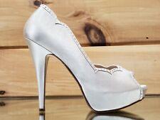 Lolita Rhinestone Platform Open Toe High Heel Shoes Champagne Satin Size 9