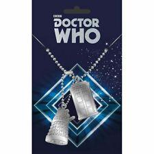 Doctor Who TARDIS and Dalek Dog Tag Pendant Necklace - Double 2 Retro TV