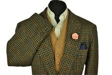"""Vtg Harris Tweed Tailored Houndstooth Country Hacking Jacket 46"""" #537 STUNNING"""