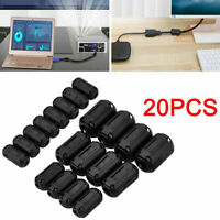 20Pcs Black Clip On Clamp RFI EMI Noise Filters Ferrite Core For Wire CableS
