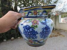 Antique 1940 Rare Portuguese Faience Hand Painted Vistal Pitcher Jug 1,6 Litres