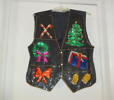 Vtg Accessory Lady Sparkle Sequins Beaded Ugly Naughty Christmas Sweater Vest M