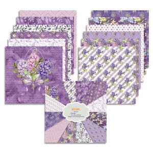 "12X 12"" Paper Pad Purple Flower Scrapbooking Junk Journal Album Card Making DIY"