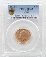 1918-I India George V Bombay Mint Gold Full Sovereign Coin PCGS MS63