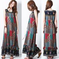 ZANZEA Sleeveless Sundress Tank Dress Women Plus Summer Party Long Maxi Dress
