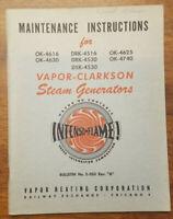Vapor Clarkson Steam Generators Bulletin 2-203 A. - Maintenance Manual -1950