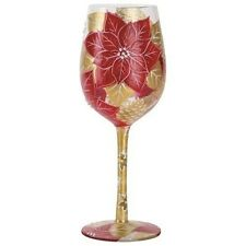 New listing Lolita Love My Wine Holiday Bouquet 3 Hand Painted Multi-Color Christmas Glass