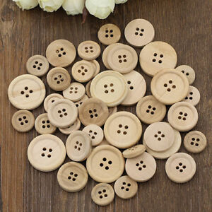 DIY 50Pcs Wooden Buttons Natural Color Round 4-Holes Sewing Scrapbooking 15/20MM