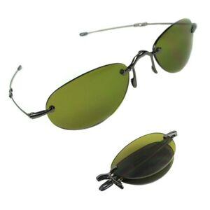 Sunglasses men small folded oval green gold metal frame LORI GREINER 0532