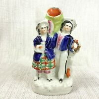 Antique Staffordshire Pottery Flatback Figurine Spill Vase Scottish Tartan Kilt