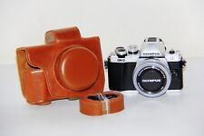 Brown PU Camera Bag Protective Case For Olympus E-M10 II EM10II w/ shoulder belt
