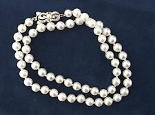 "Mikimoto 6.5mm Single Strand Pearl Necklace Sterling Silver Clasp 16"" Choker"